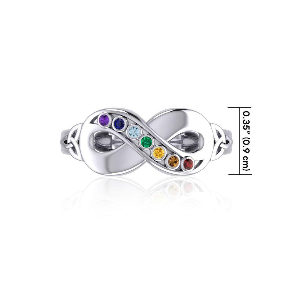 Silver Infinity Ring with Chakra Gemstones TRI1862 peterstone.