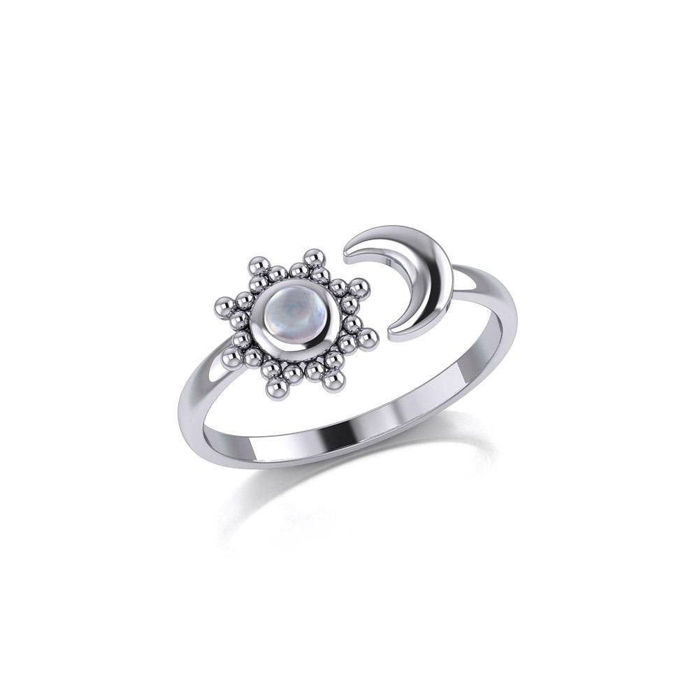 Gemstone Flower with Crescent Moon Silver Ring TRI1875
