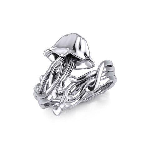 Box Jellyfish Silver Wrap Ring TRI1896 peterstone.