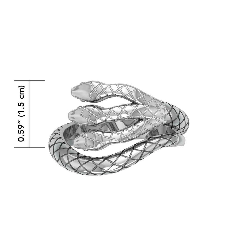 Fierce and Ferocious Sterling Silver Three Headed Cobra Ring TRI1899 peterstone.
