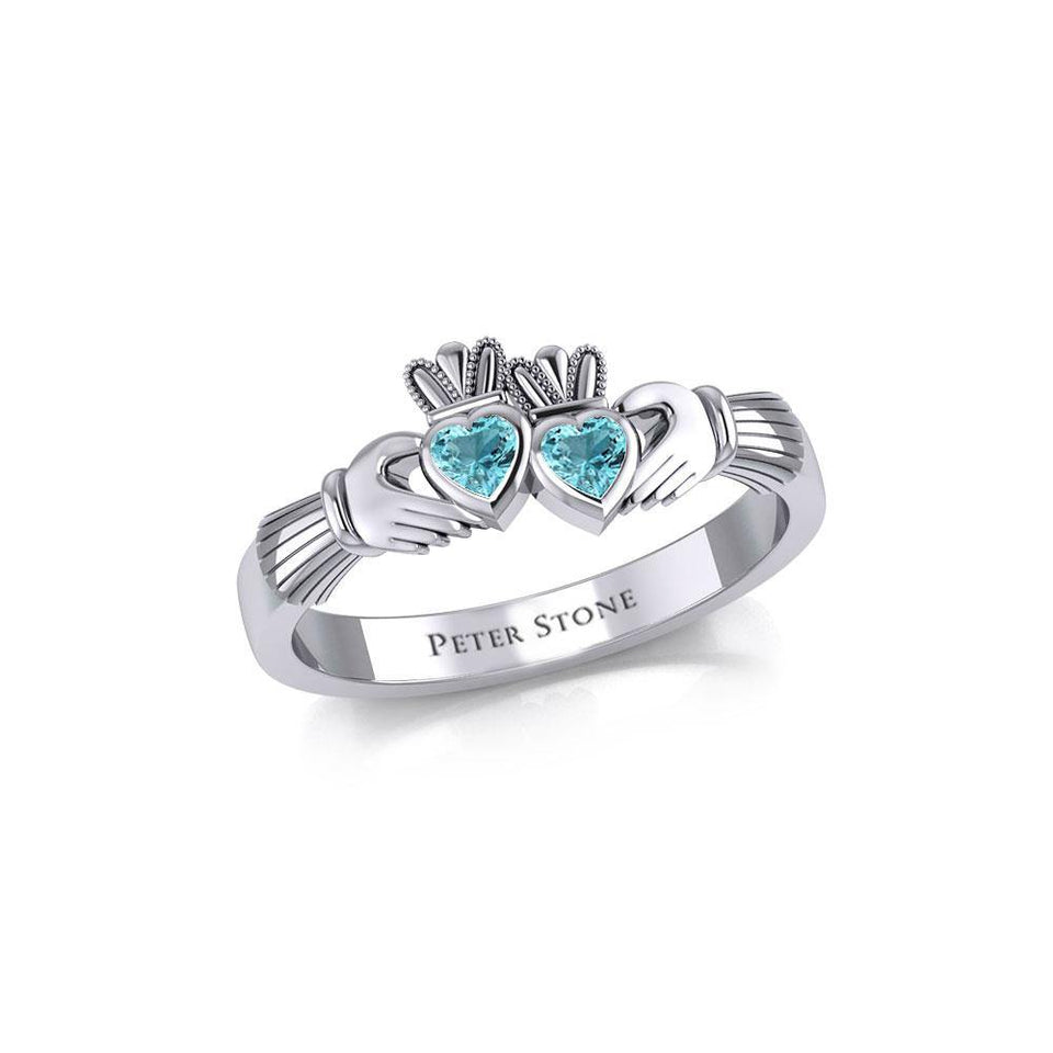 Irish Double Claddagh Silver Ring with Gemstone TRI1900 peterstone.