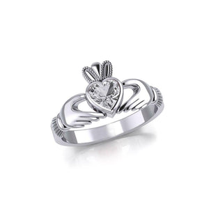 Irish Claddagh Silver Ring with Large Gemstone TRI1901 peterstone.