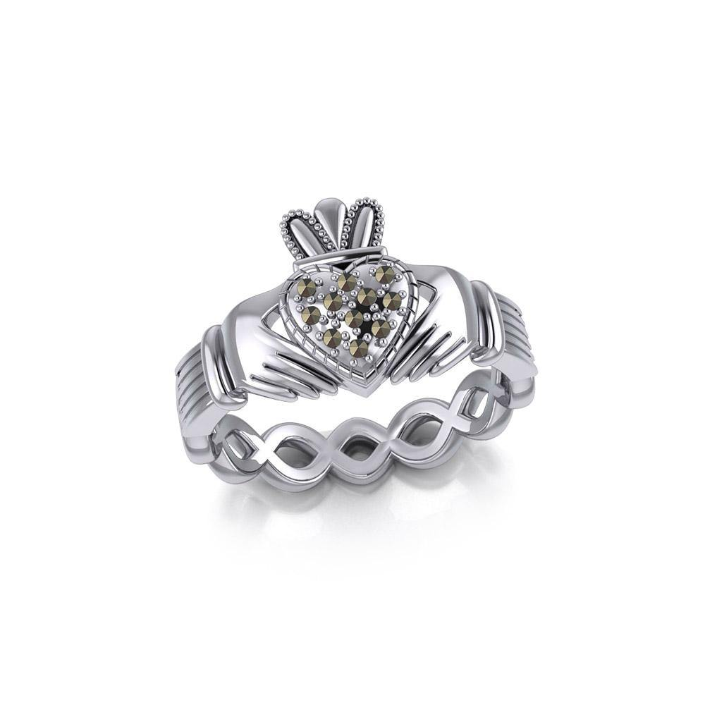 Infinity Claddagh Silver Ring with Marcasite TRI1903 peterstone.