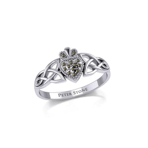 Irish Claddagh and Celtic Knotwork Silver Ring with Marcasite TRI1904 peterstone.