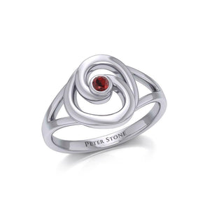 Organic Droplet Silver Contemporary Ring with Gemstone TRI1906 peterstone.