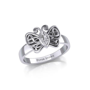 Silver Celtic Butterfly Ring with Marquise Gemstone TRI1907