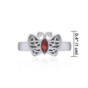 Silver Celtic Butterfly Ring with Marquise Gemstone TRI1907 peterstone.