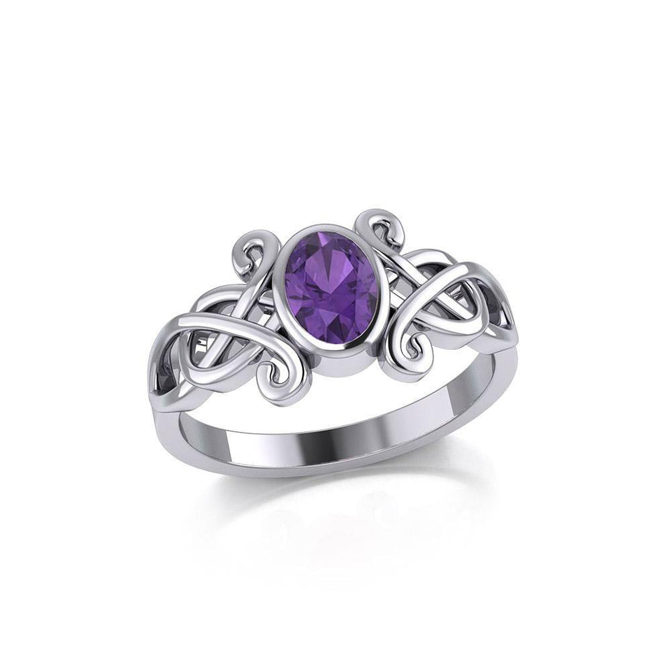 Silver Celtic Ring with Oval Gemstone TRI1908