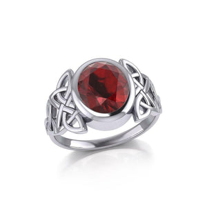 Silver Celtic Knotwork Ring with Extra Large Oval Gemstone TRI1911