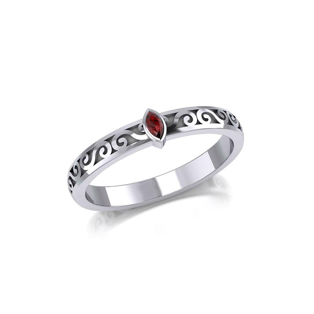 Silver Celtic Spiral Ring with Marquise Gemstone TRI1912 Ring