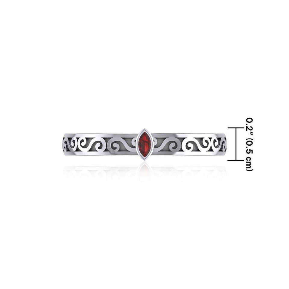 Silver Celtic Spiral Ring with Marquise Gemstone TRI1912