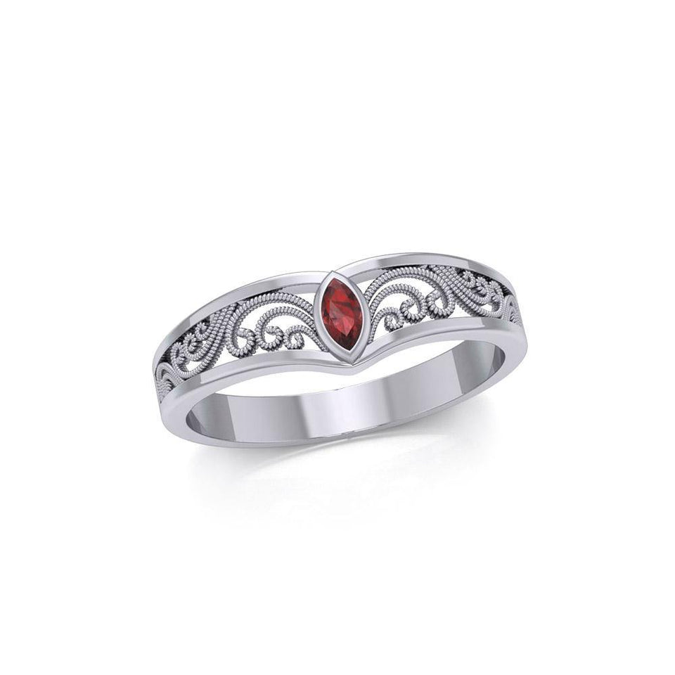 Silver Filigree Millennium Ring with Gemstone TRI1913 peterstone.