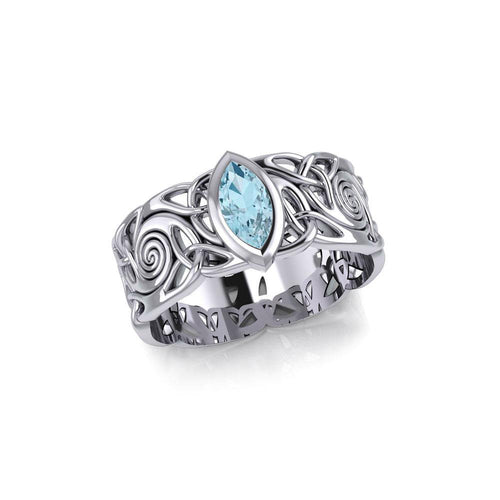 Celtic Silver Spiral Band Ring with Marquise Gemstone TRI1914