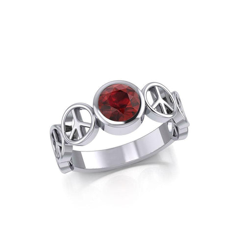 Peace Symbol Silver Band Ring With Gemstone TRI1916