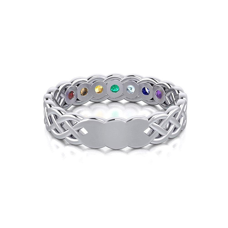 Celtic Silver Band Ring with Chakra Gemstones TRI1918 peterstone.