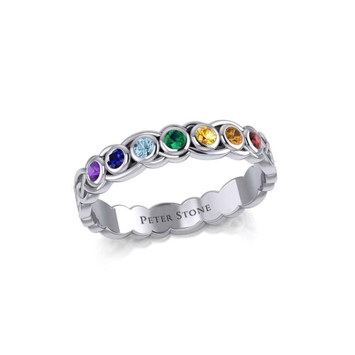 Celtic Knot Silver Band Ring with Chakra Gemstones TRI1919 peterstone.