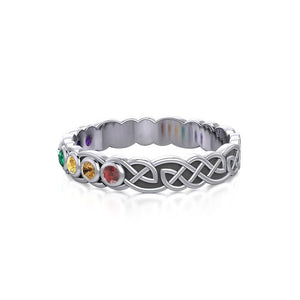 Celtic Knot Silver Band Ring with Chakra Gemstones TRI1919