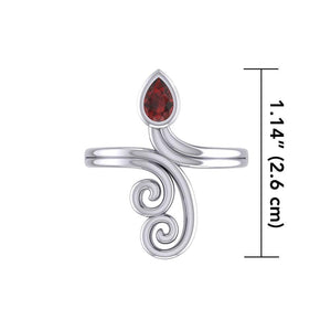 Modern Abstract Silver Ring with Teardrop Gemstone TRI1920 peterstone.
