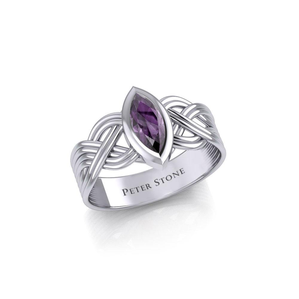 Silver Celtic Ring with Marquise Gemstone TRI1925 peterstone.