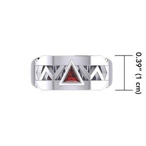 Silver Modern Band Ring with Inlaid Recovery Symbol TRI1929