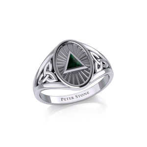 Silver Celtic Trinity Knot Ring with Inlaid Recovery Symbol TRI1930 peterstone.