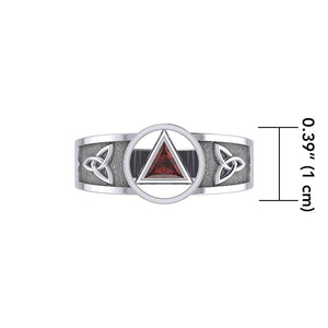 Silver Celtic Trinity Knot Ring with Inlaid Recovery Symbol TRI1931 Ring