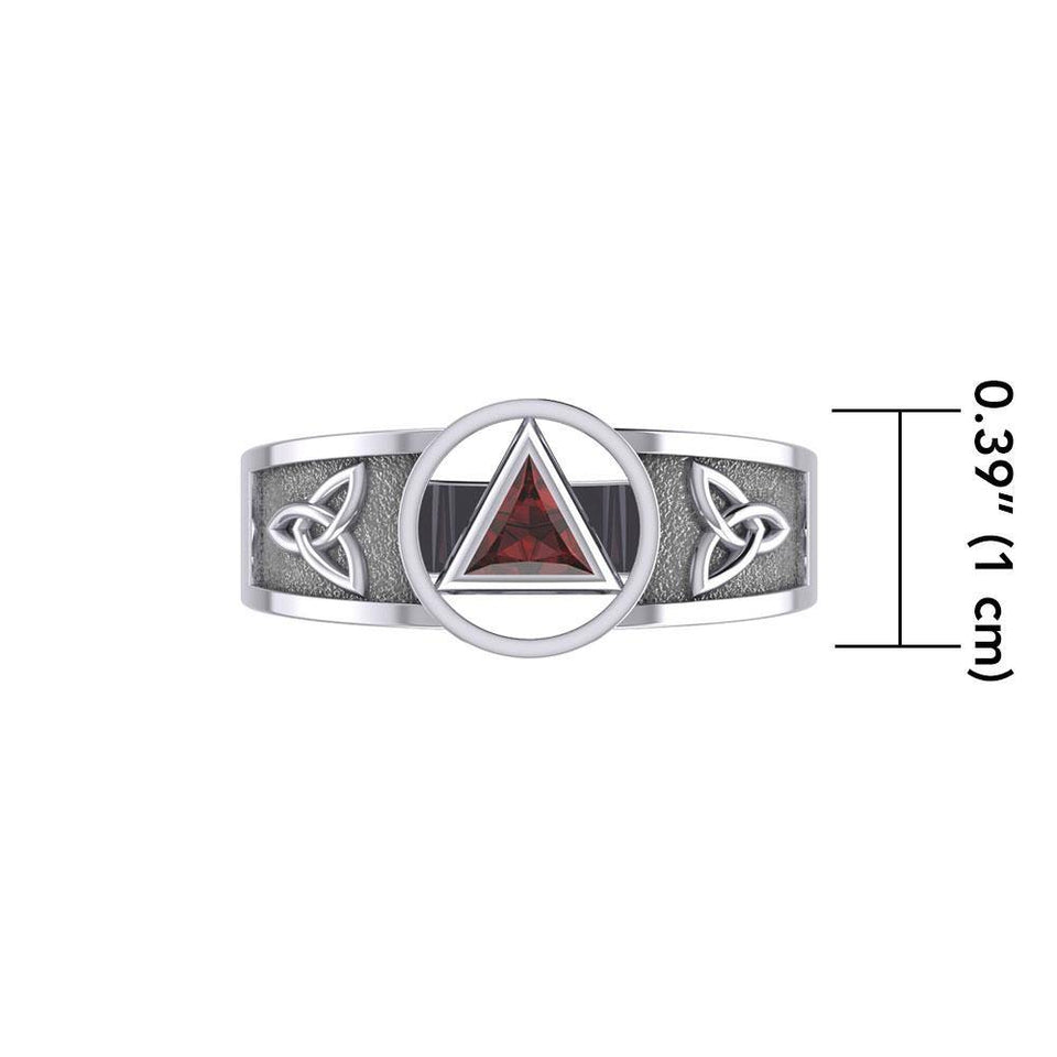 Silver Celtic Trinity Knot Ring with Inlaid Recovery Symbol TRI1931