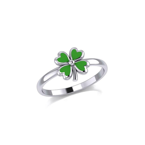 Lucky Four Leaf Clover Silver Ring with Enamel TRI1935