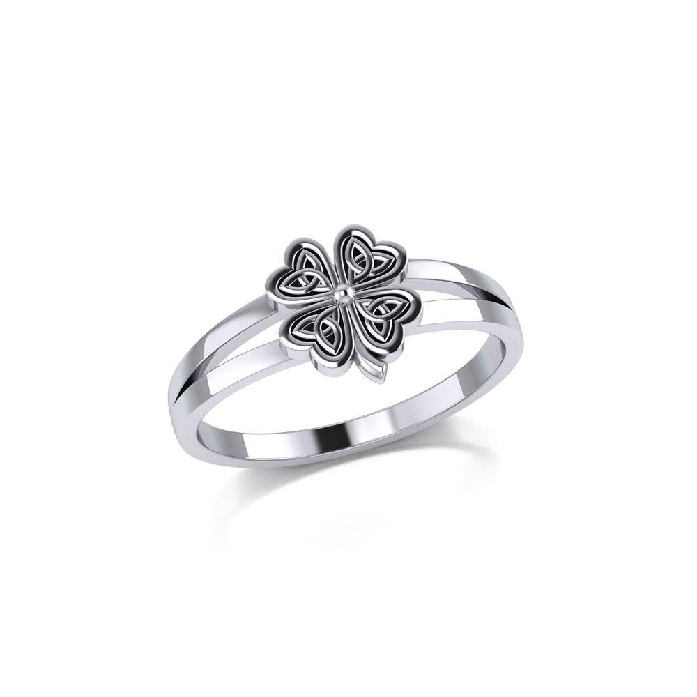 Lucky Celtic Four Leaf Clover Silver Ring TRI1936