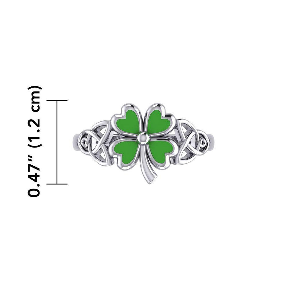 Celtic with Lucky Four Leaf Clover Silver Ring with Enamel TRI1938 peterstone.