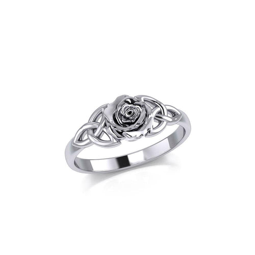 Celtic Trinity Rose Silver Ring TRI1939 peterstone.