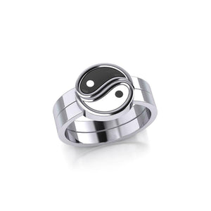 Yin Yang Love Silver Commitment Ring TRI1940 peterstone.