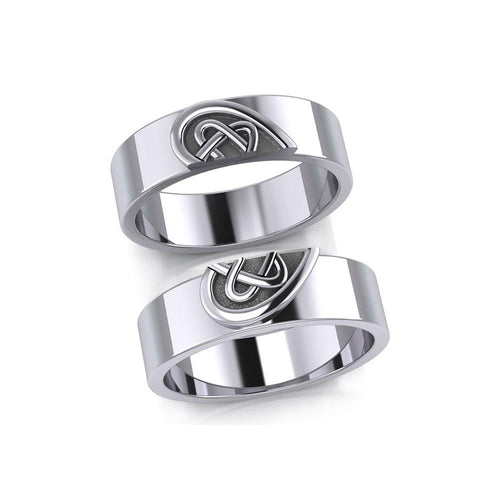 Celtic Heart Love Silver Commitment Band Ring TRI1941