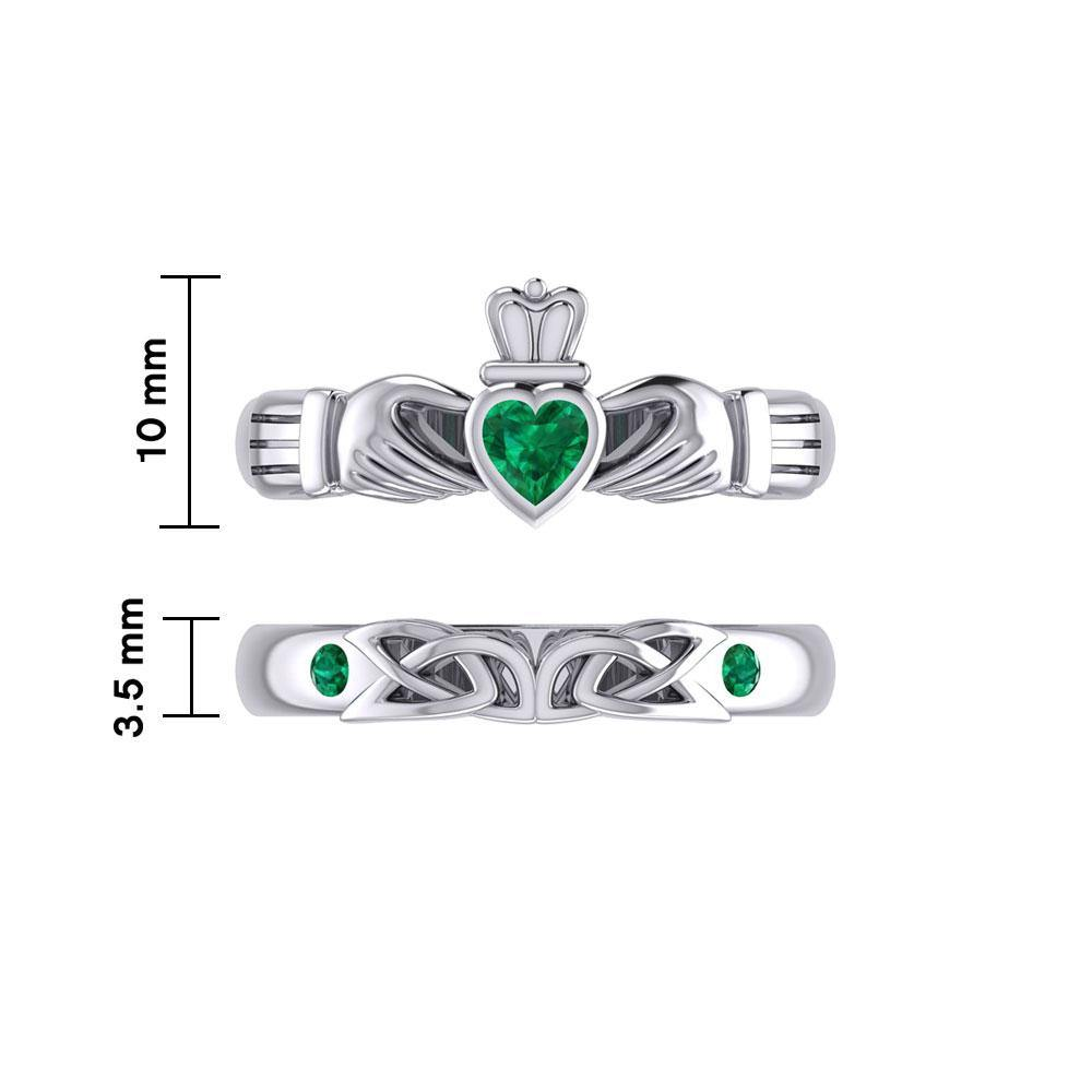 Celtic Claddagh Love Silver Commitment Band Ring TRI1942
