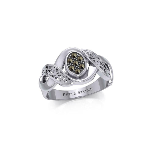 Silver Bold Filigree Ring with Gemstones TRI1945 peterstone.