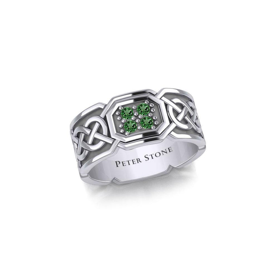 Celtic Knotwork Silver Band Ring with Gemstones TRI1947
