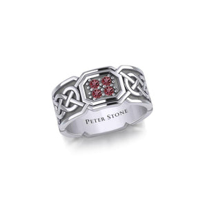 Celtic Knotwork Silver Band Ring with Gemstones TRI1947 peterstone.