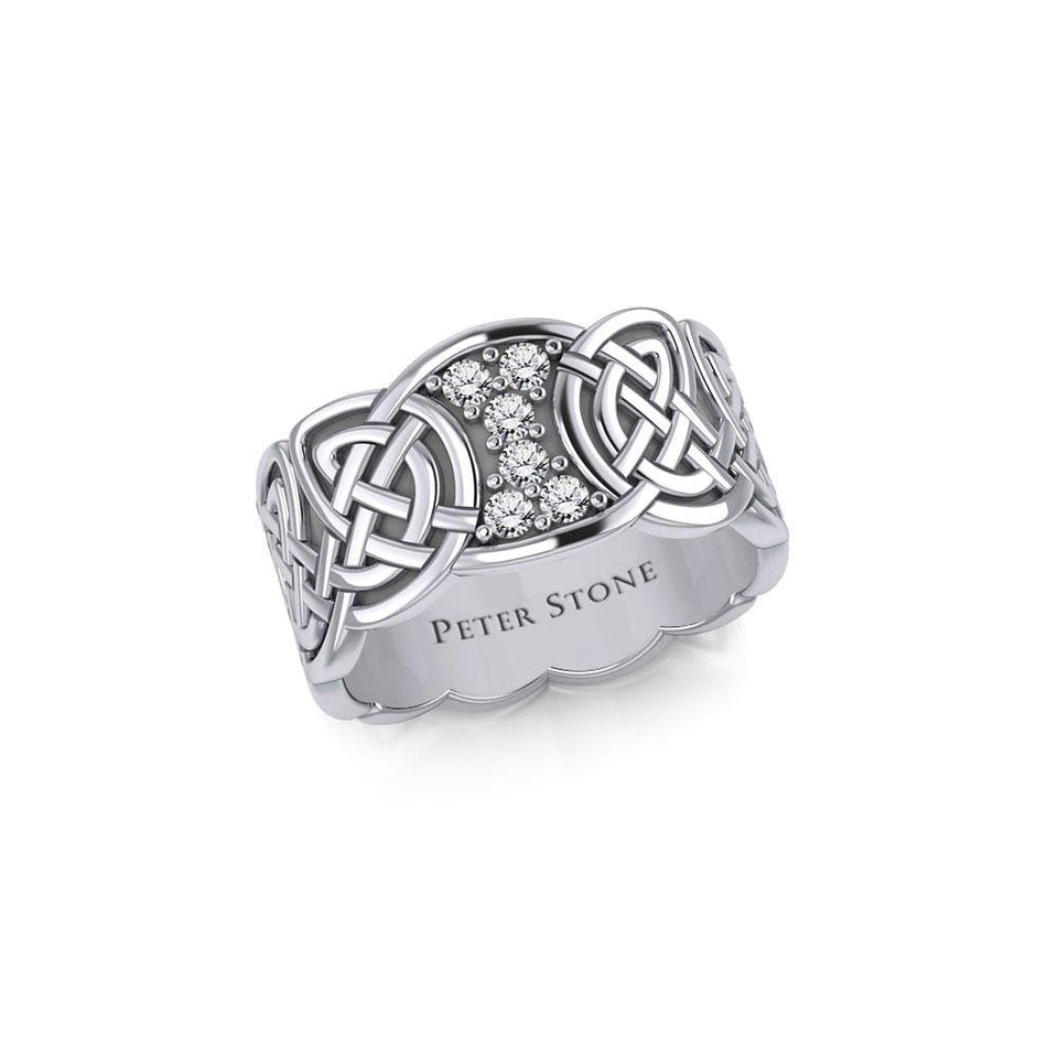 Celtic Knotwork Silver Band Ring with Gemstones TRI1949