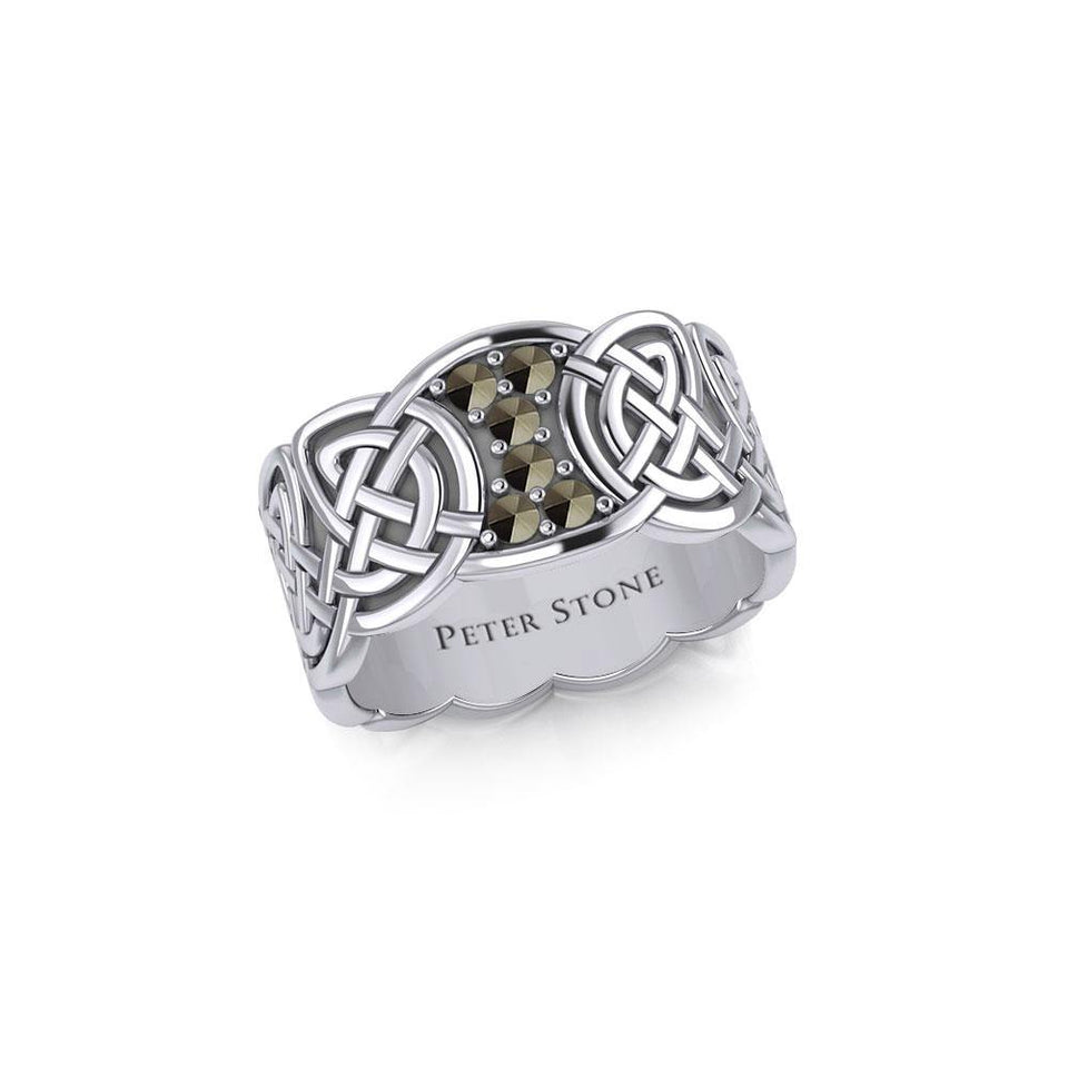 Celtic Knotwork Silver Band Ring with Gemstones TRI1949 peterstone.