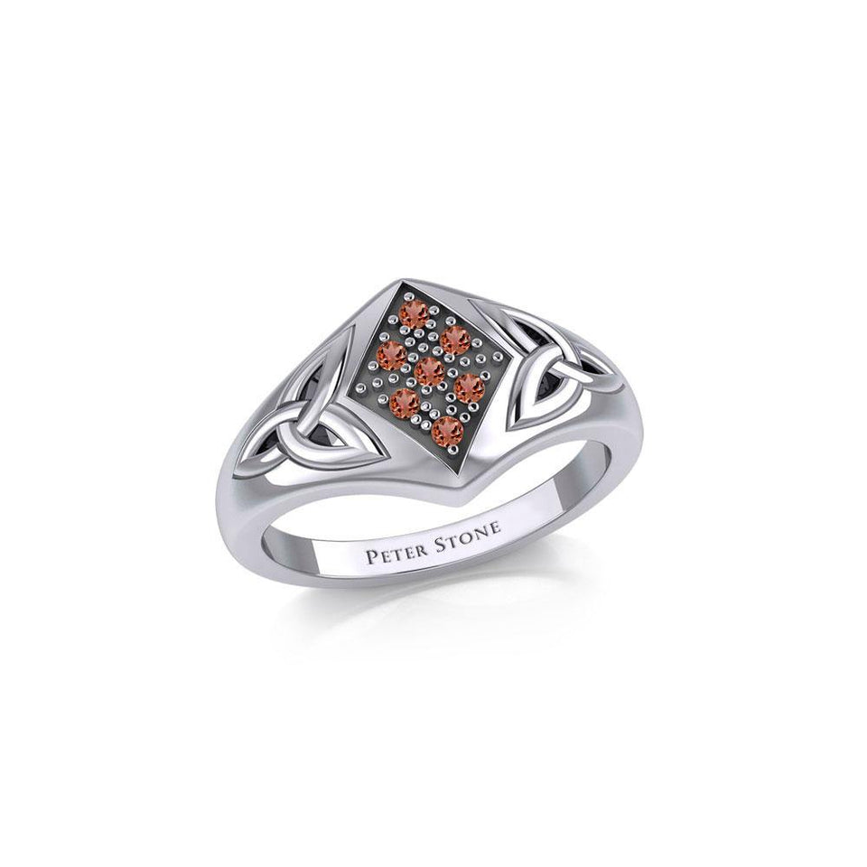 Celtic Trinity Knot Ring with Gemstones TRI1951