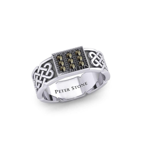 Rectangle Celtic Ring with Gemstones TRI1953