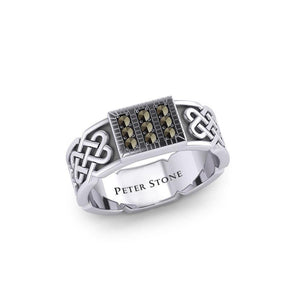 Rectangle Celtic Ring with Gemstones TRI1953 peterstone.