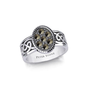 Oval Celtic Ring with Gemstones TRI1954