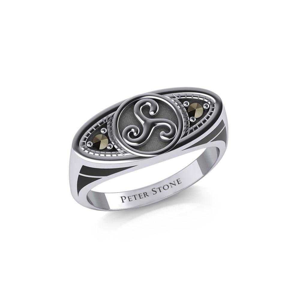 Celtic Triskele Silver Ring with Gemstones TRI1957 peterstone.