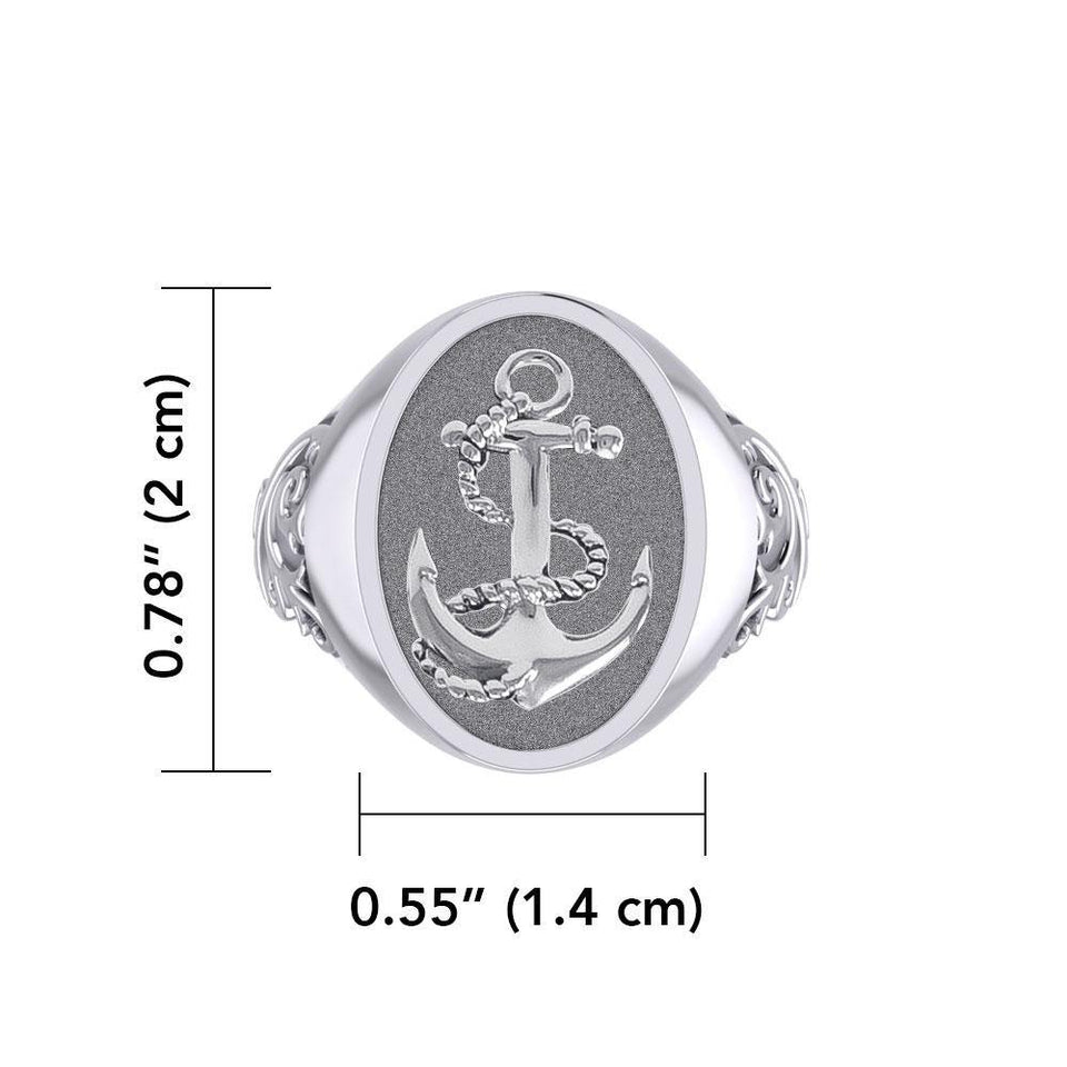 Classic Anchor Silver Signet Men Ring TRI1962 peterstone.