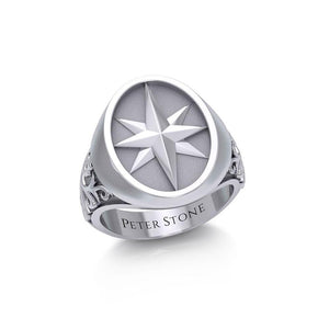 Compass Silver Signet Men Ring TRI1964