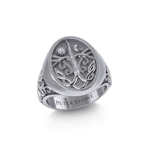 Tree of Life Silver Signet Men Ring TRI1967