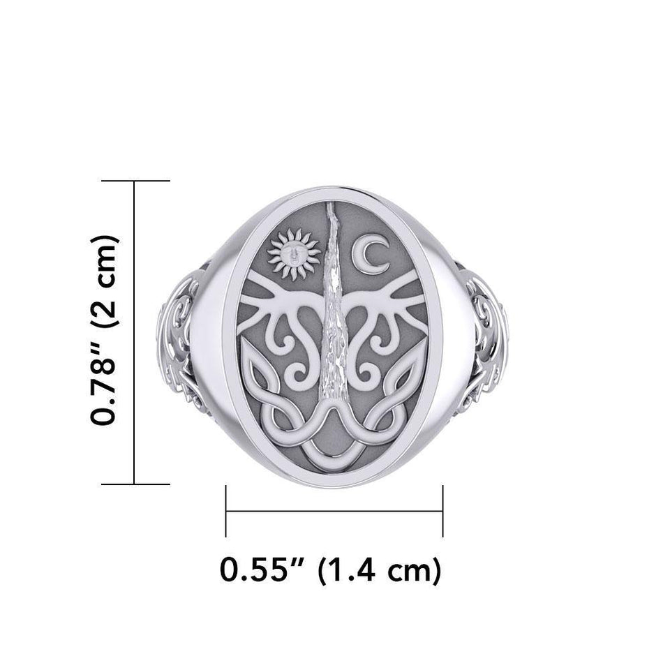 Tree of Life Silver Signet Men Ring TRI1967 peterstone.