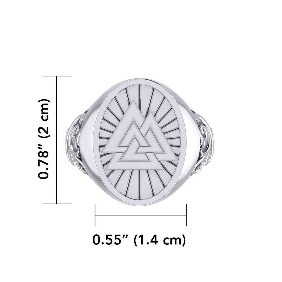 Viking Valknut Silver Signet Men Ring TRI1968 peterstone.