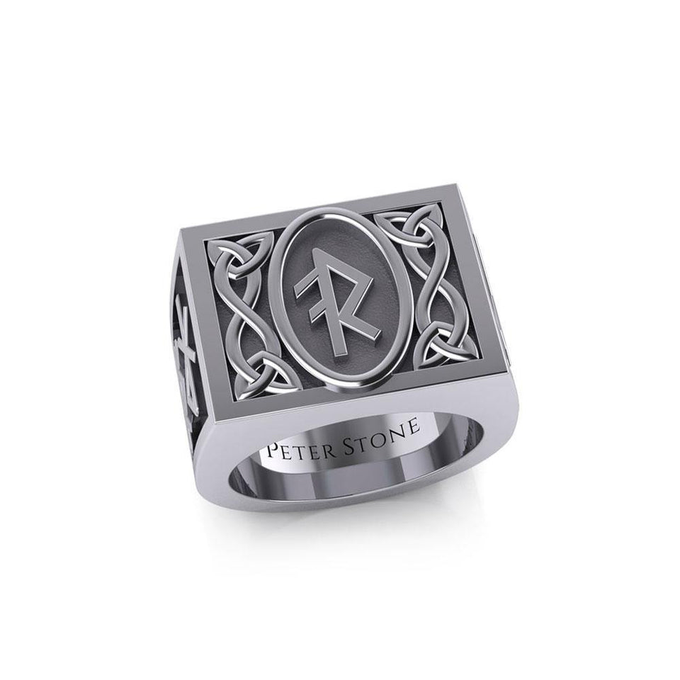 The Fifth Power of Rune Viking Silver Signet Men Ring TRI1971